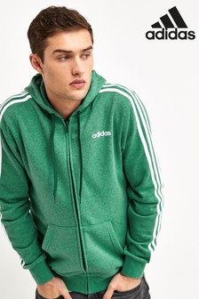 קפוצ'ון עם רוכסן 3 פסים בצבע ירוק מסדרת פריטי בייסיק של Adidas