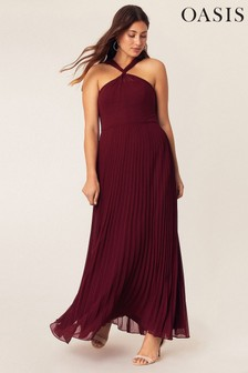 Oasis Red Twist Neck Pleat Maxi Dress