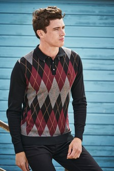 Argyle Pattern Knitted Polo