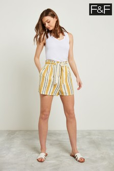 F&F Multi Yellow Stripe Linen Short