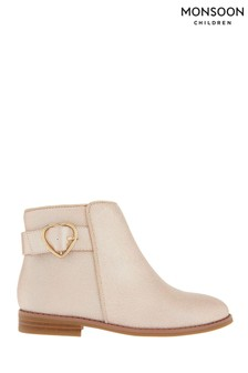 Monsoon Pink Penny Heart Buckle Shimmer Boots