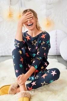 Bavlněné pyžamo se stahováním na lemu