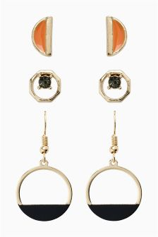 Mixed Circle Earrings Three Pack