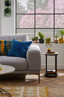 Navy Blue Soft Velour Small Square Cushion