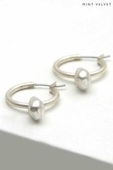 Mint Velvet Silver Silver Nugget Drop Earrings