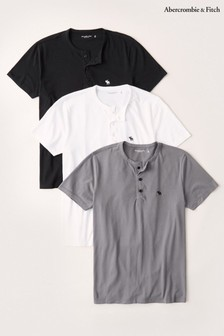 Abercrombie & Fitch Black, White And Grey Henley Shirt 3 Pack