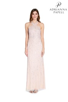 Adrianna Papell Nude Halter Beaded Gown