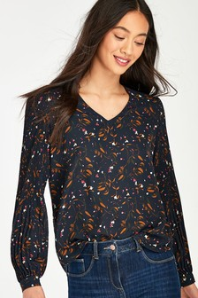 Selected Femme Navy Floral Print Pleated Josie Blouse
