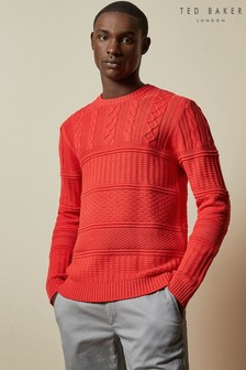 Ted Baker Orange Marbal Multi Stitch Crew Neck Jumper