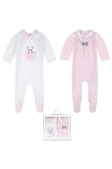 Girls Pink Velour Babygrow 2 Piece Set