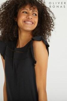 Oliver Bonas Black Frill Sleeve Laddered Black Jersey Top