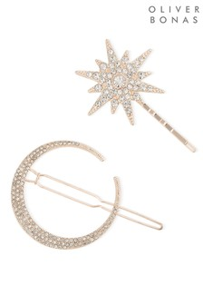 Oliver Bonas Gold Tone Luna Moon Starburst Stone Hair Clips Two Pack
