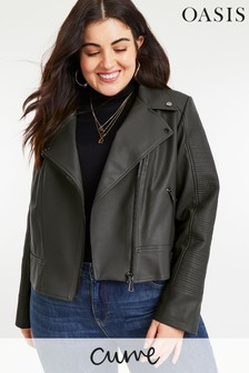 Oasis Grey Curve Faux Leather Biker
