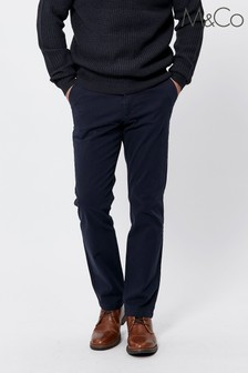 M&Co Men Blue Straight Leg Chinos