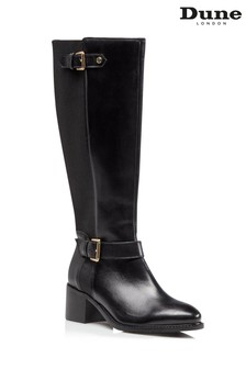 Dune London Tilda Black Buckle Strap Boots