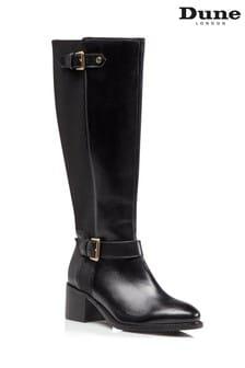 Dune London Tilda Black Buckle Strap Boots
