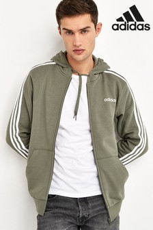 adidas Olive Essentials 3 Stripe Zip Through Hoody