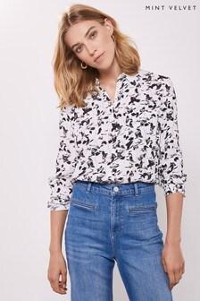 Mint Velvet White Alice Butterfly Print Shirt