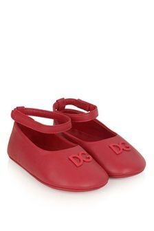 Baby Girls Red Leather Pre-Walker Ballerina Shoes