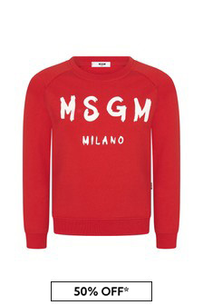 Kids Red Cotton Sweat Top