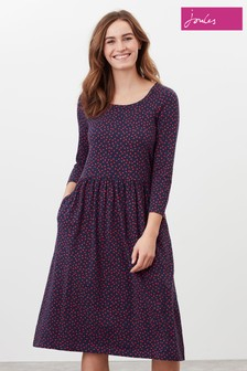 Joules Milana Print Dropped Waist Jersey Dress