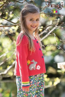 Frugi GOTS Organic Knitted Cardigan In Pink With A Rabbit Appliqué