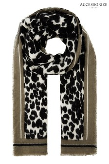 Accessorize Black Mono Leopard Border Blanket Scarf