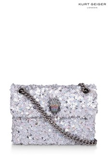 Kurt Geiger London Silver Sequins Mini Kensington Fabric Bag