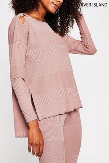 River Island Pink Light Long Sleeve Keyhole Detail Top