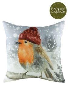 Snowy Robin Linen Blend Cushion by Evans Lichfield