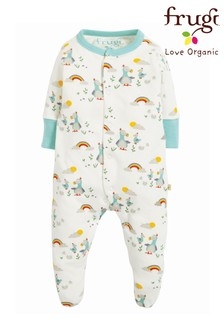 Frugi Organic Babygrow With Scratch Mitts In Dodo Print