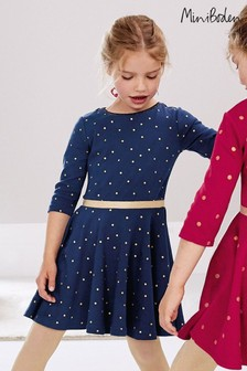 Boden Navy Spotty Skater Dress