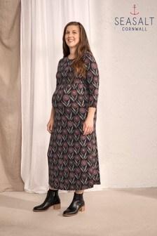 Seasalt Maternity Black Temple Textured Flower Head Black Dress