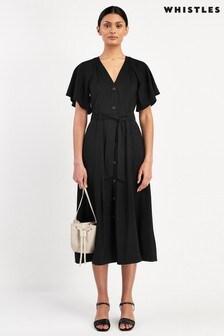 Whistles Black Anita Frill Sleeve Dress