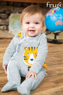 Frugi Organic Velour Babygrow With Tiger Appliqué