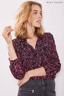 Mint Velvet Black Arla Floral Print Shirt