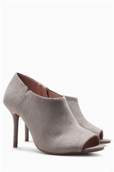 Next Grey Suede Shoe Boot Heels 40 New