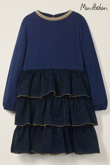 Boden Blue Tiered Sparkle Jersey Dress