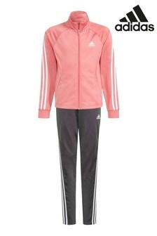adidas Pink Polyester 3 Stripe Tracksuit
