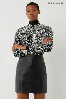 Warehouse Black Faux Croc Pelmet Mini Skirt