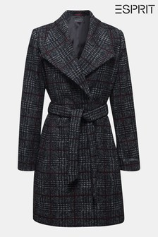 Esprit Grey Woven Wool Coat