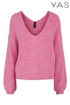 Y.A.S Pink V-Neck Puff Sleeve Jumper