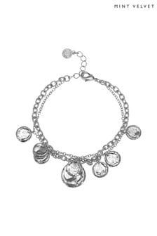 Mint Velvet Silver Tone Layered Charm Bracelet