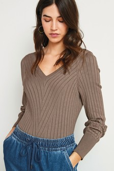 V-Neck Ribbed Jumper
