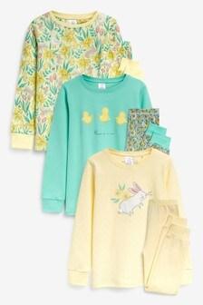 3 Pack Rabbit And Floral Snuggle Print Pyjamas (9mths-8yrs)