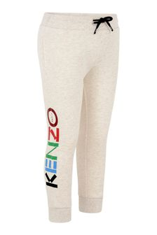 Boys Beige Marl Cotton Logo Joggers