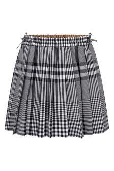 Burberry Kids Girls Black Cotton Skirt