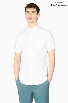 Ben Sherman White Short Sleeve Signature Organic Oxford Shirt