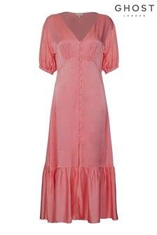 Ghost London Pink Izzy Rose Satin Dress