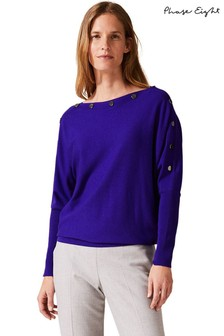 Phase Eight Purple Brenda Button Detail Knit Jumper